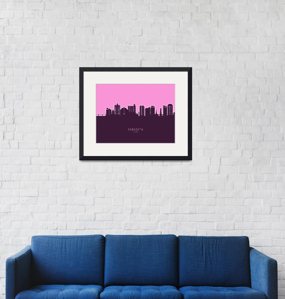 """Sarasota Florida Skyline""  (2020) by ModernArtPrints"