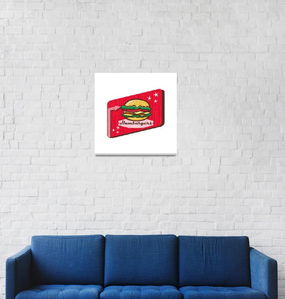 """Retro 1950s Diner Hamburger Sign""  (2016) by patrimonio"