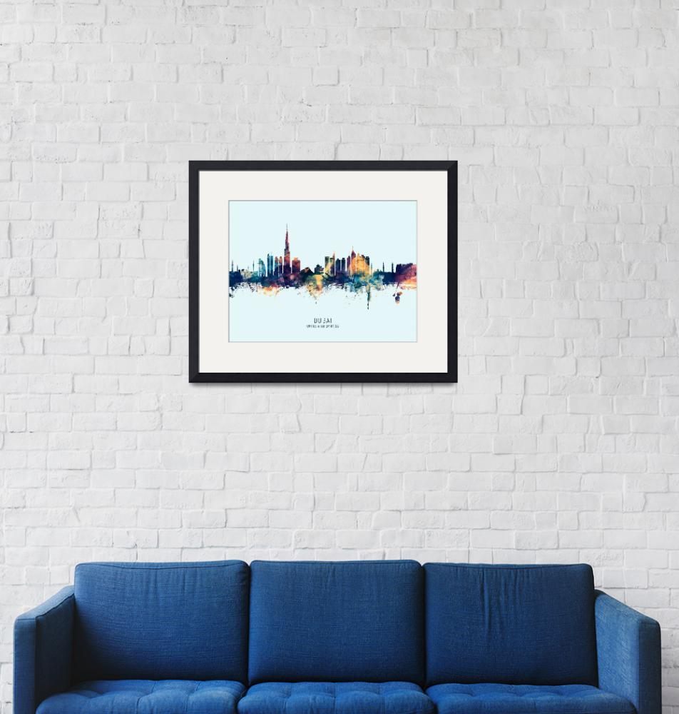 """Dubai Skyline""  (2019) by ModernArtPrints"