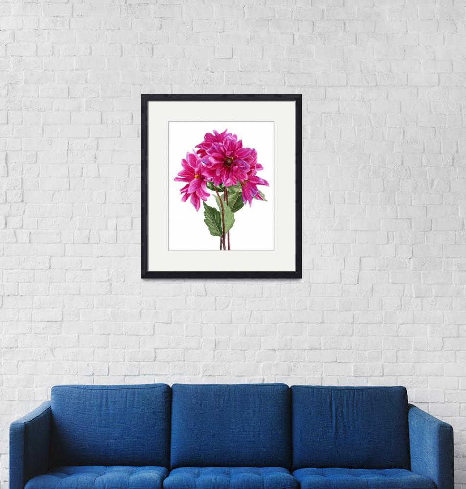 """""""Bouquet of Rose Violet Dahlias""""  (2011) by Pacific-NW-Watercolors"""