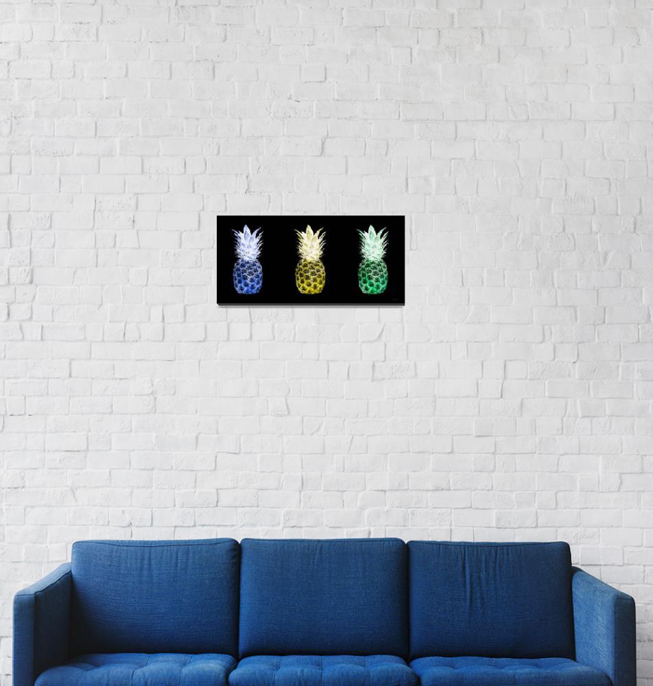 """Triptych 14U Artistic Pineapple Blue Yellow Green""  (2016) by Ricardos"