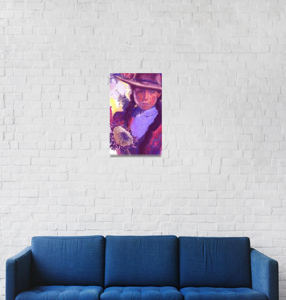 """Peruvian Girl with Sunflowers""  by ellendreibelbis"