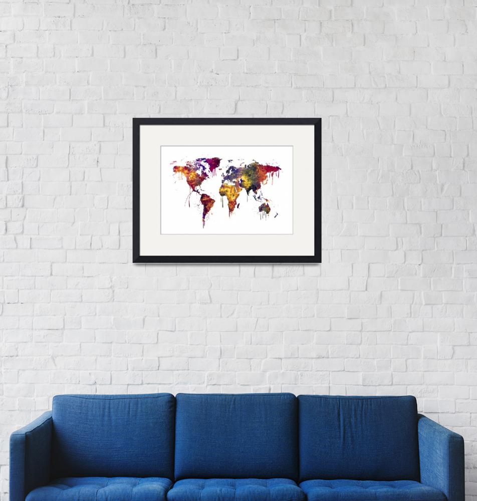 """""""Watercolor Map of the World Map""""  (2016) by ModernArtPrints"""