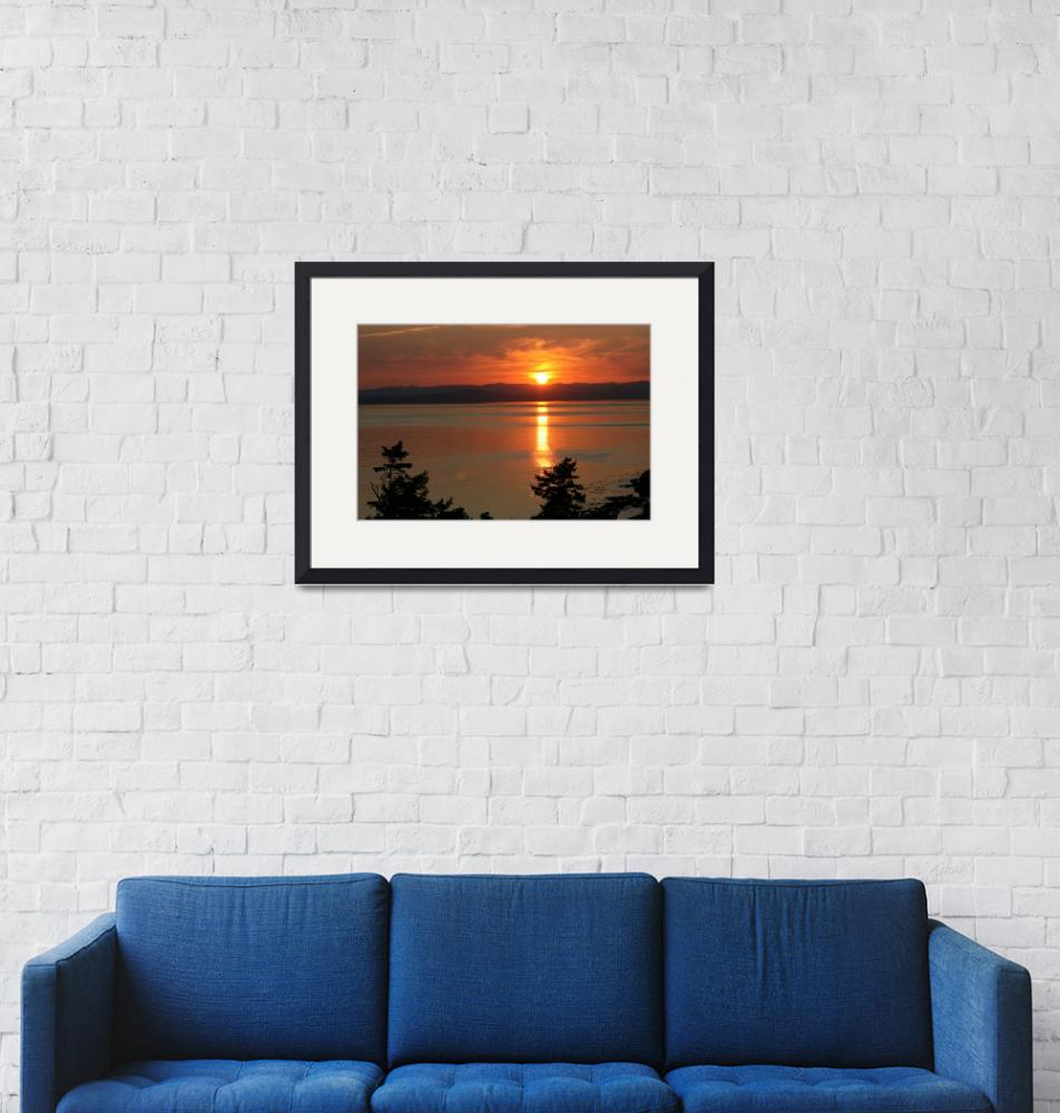 """""""September Solstice Sunset Over the Haro Straits""""  (2008) by sandybuckley"""
