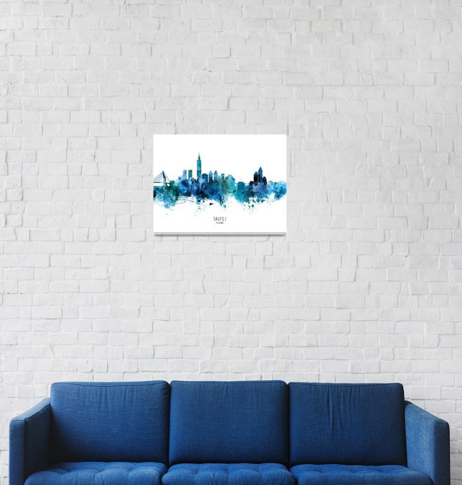 """""""Taipei Taiwan Skyline""""  (2020) by ModernArtPrints"""