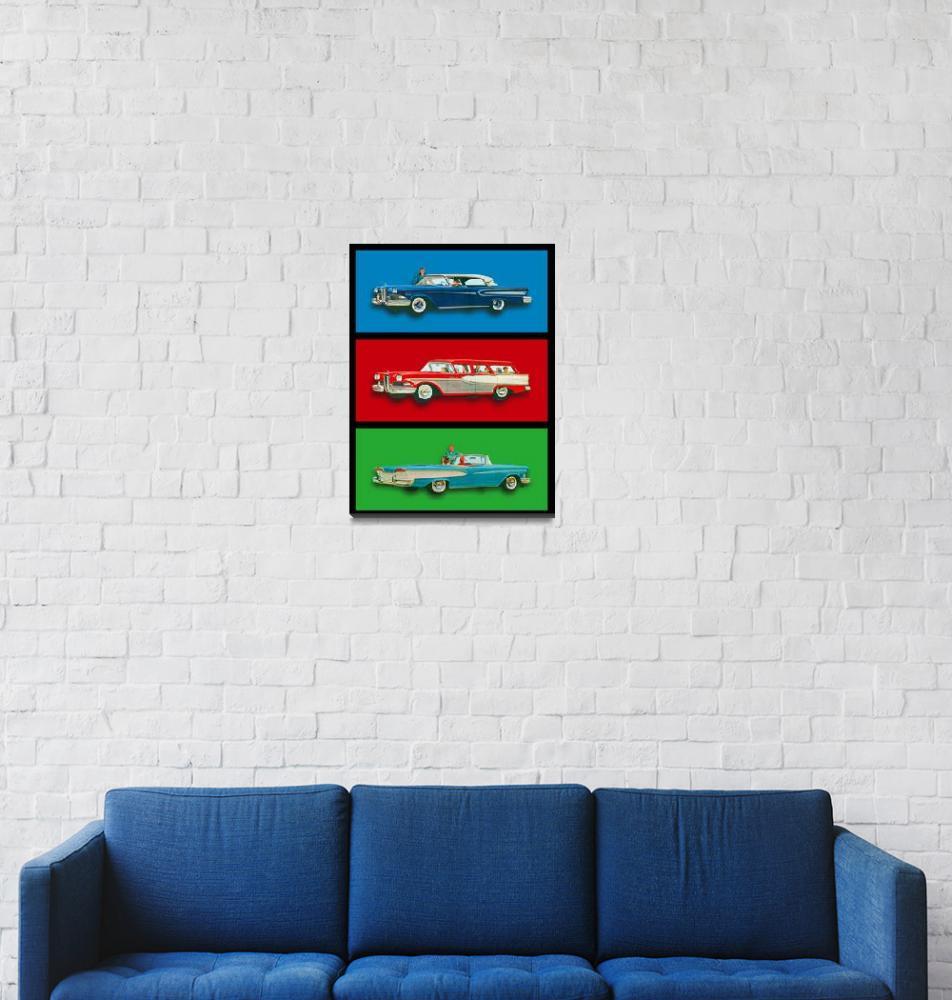 """Edsel Car Advertisement Black Border""  (2015) by RubinoFineArt"