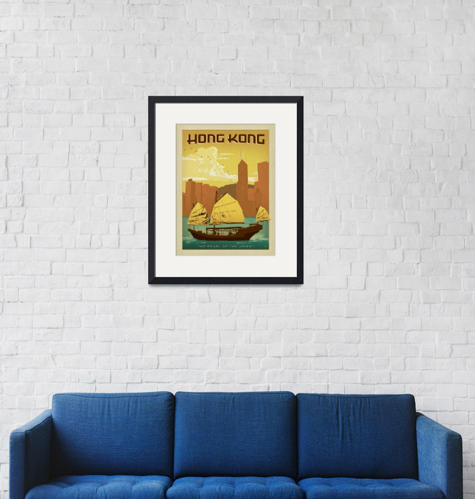 """Hong Kong Retro Travel Poster""  by artlicensing"