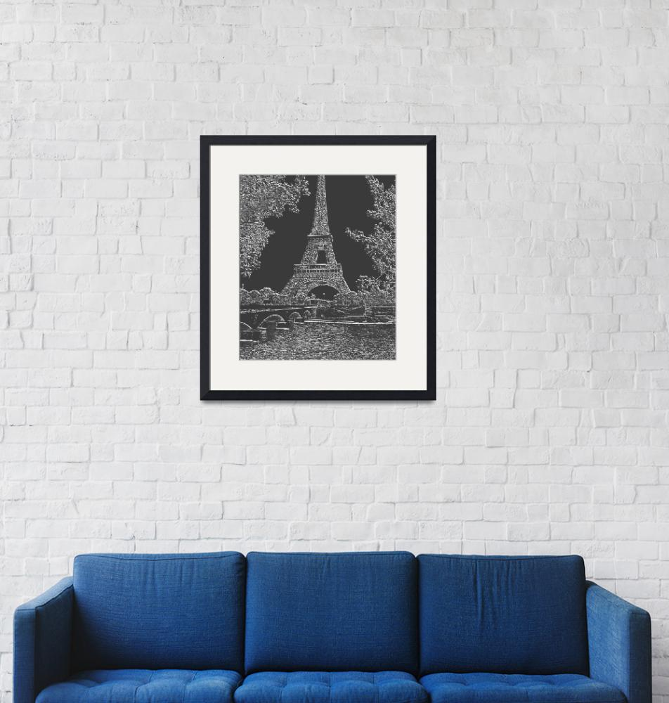 """Eiffel Tower Seine River Light Grey Neg Charcoal C""  (2013) by TheNorthernTerritory"