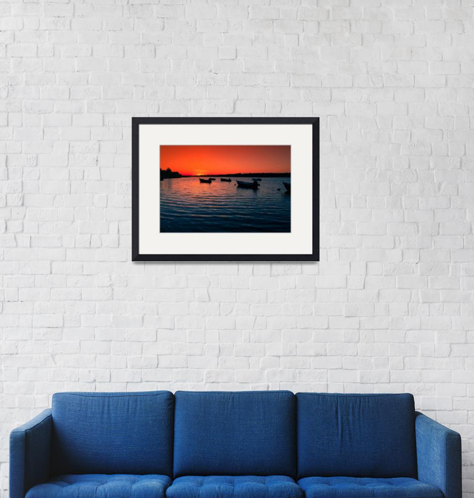 """Sunrise and Boats Eastham Orleans Cove""  (2016) by dapixara"