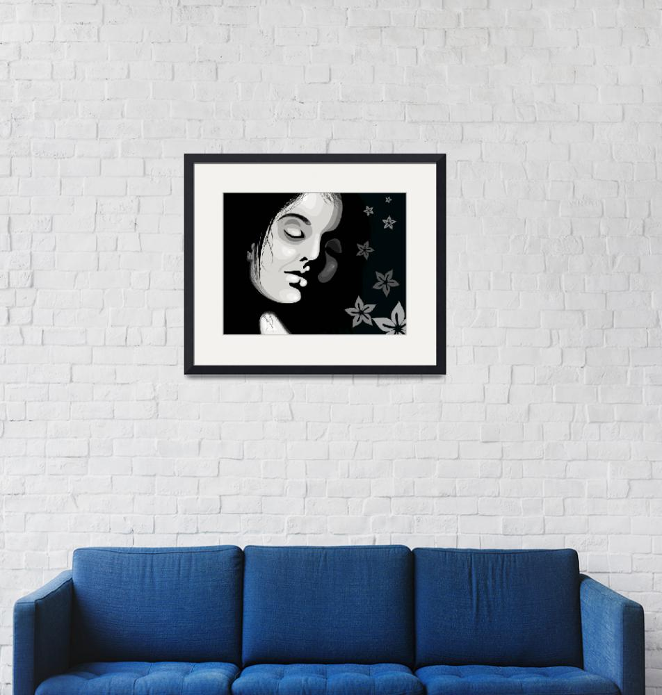 """""""Girl in black and white""""  (2009) by digitalpainting"""