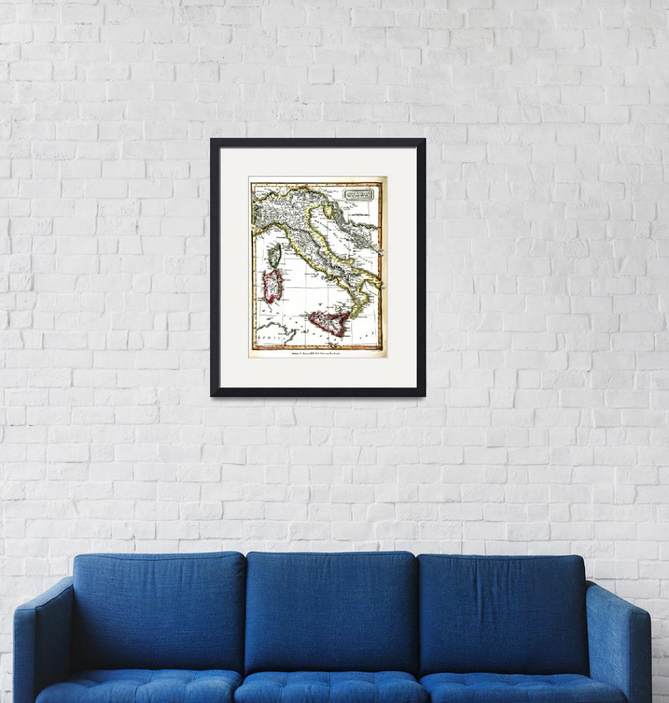 """""""Antique Map Of Italy From 1820""""  (2015) by WilshireImages"""
