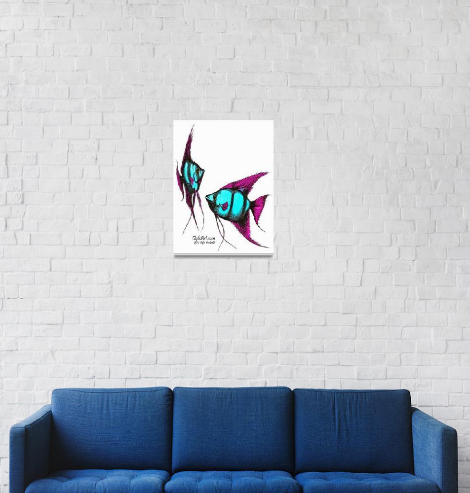 """""""AngelFish-blue-pink""""  (1990) by OgleWarfield"""