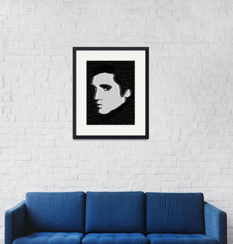 """Elvis Presley Silhouette On Black""  by RubinoFineArt"