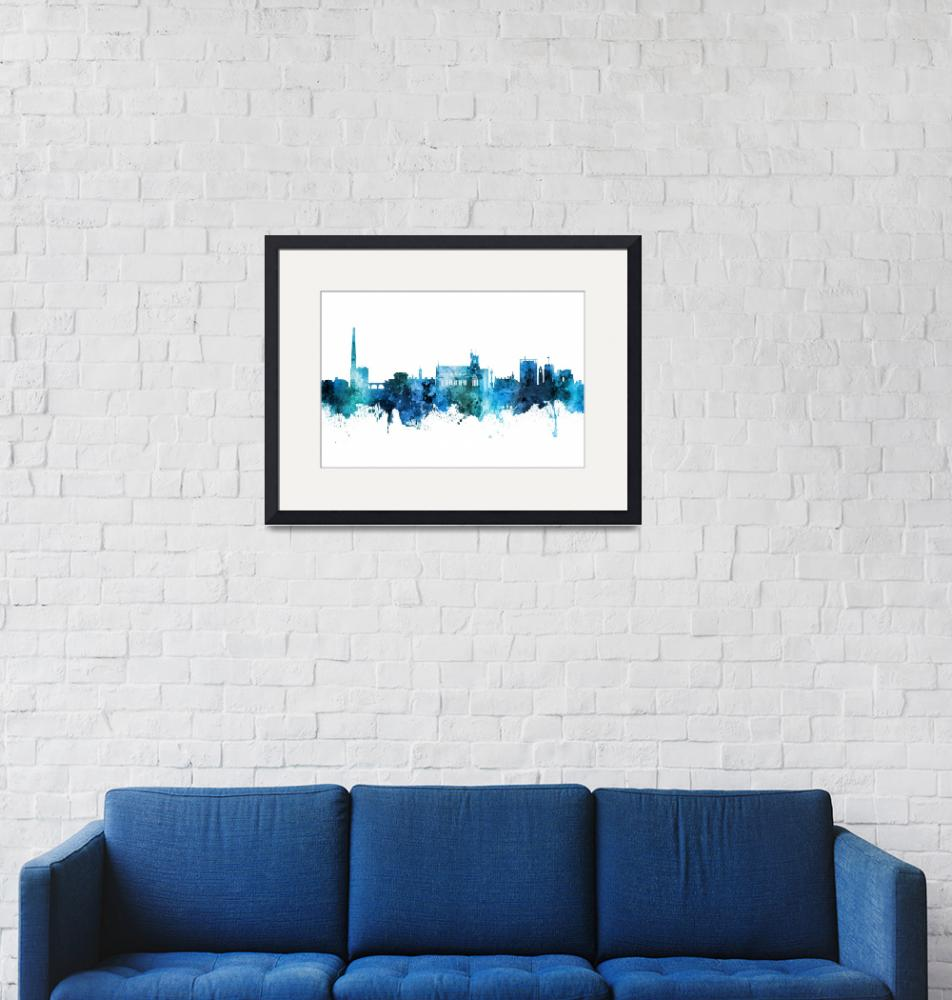 """Carlisle England Skyline""  (2018) by ModernArtPrints"