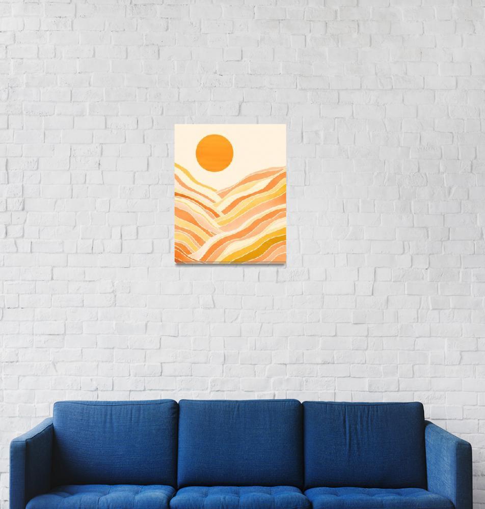 """Golden Mountain Sunset""  (2019) by moderntropical"