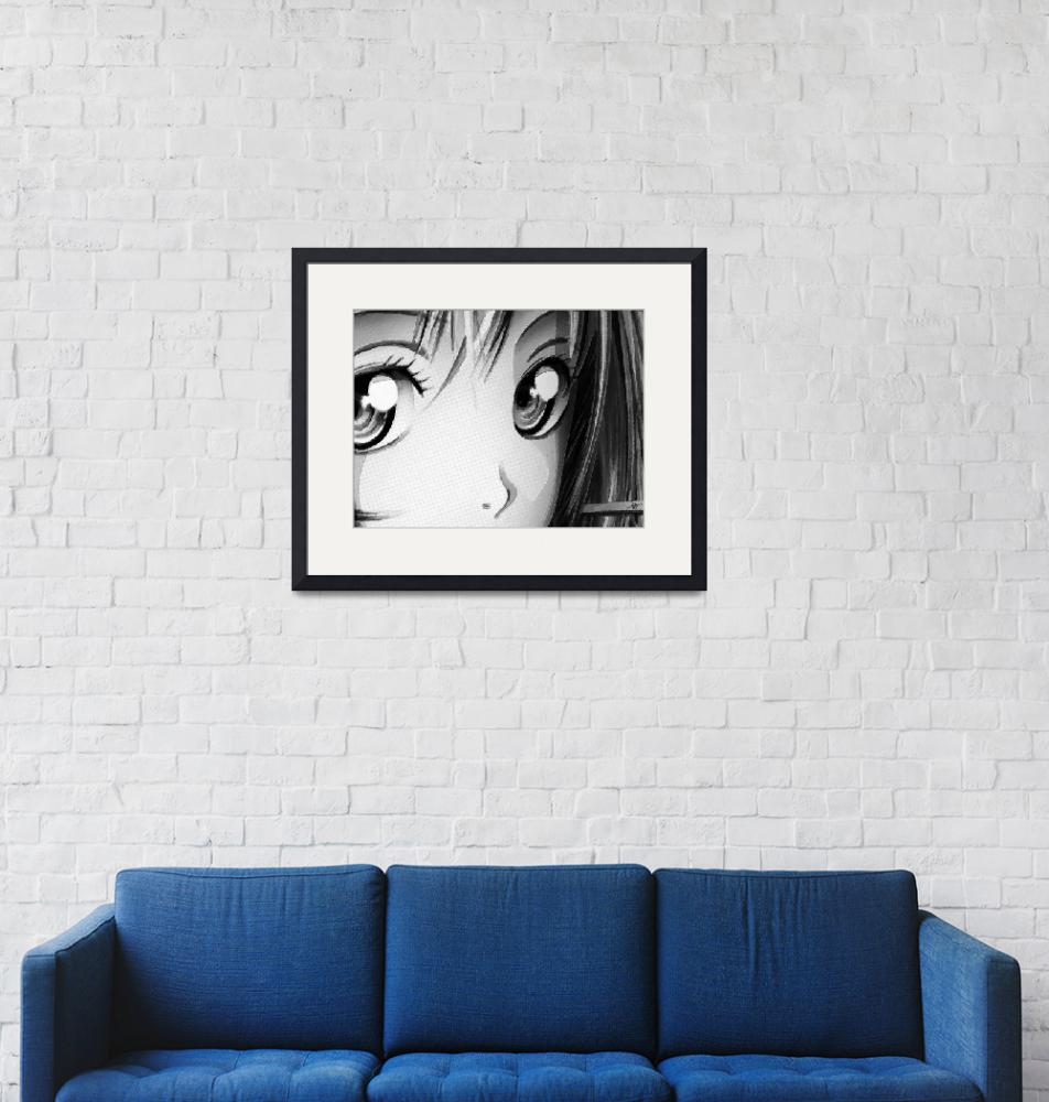 """Anime Girl Eyes 2 Black And White""  (2018) by RubinoFineArt"