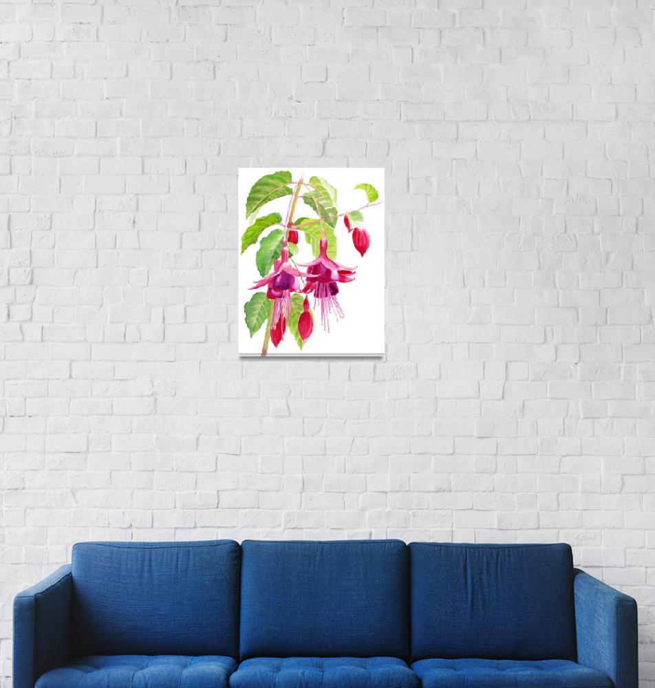 """Red and Purple Fuchsias white background""  (2015) by Pacific-NW-Watercolors"