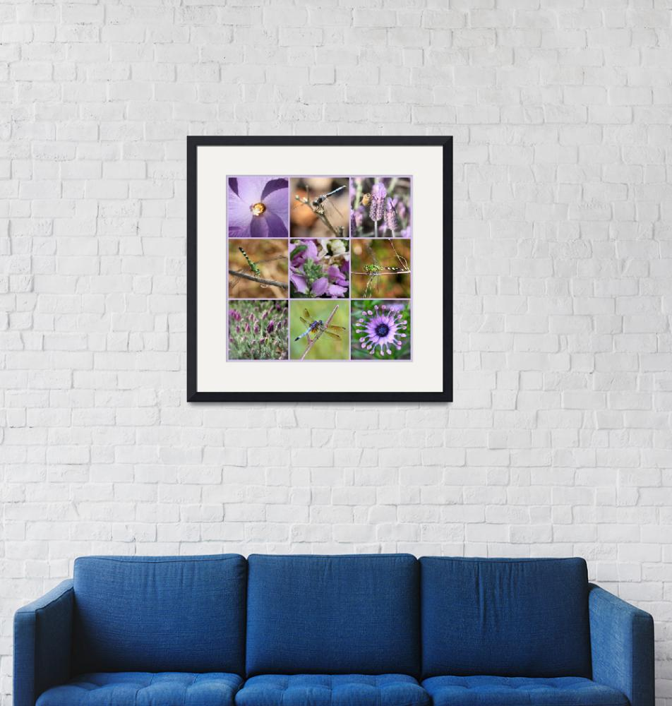 """""""Purple Flowers and Dragonflies Collage""""  by Groecar"""