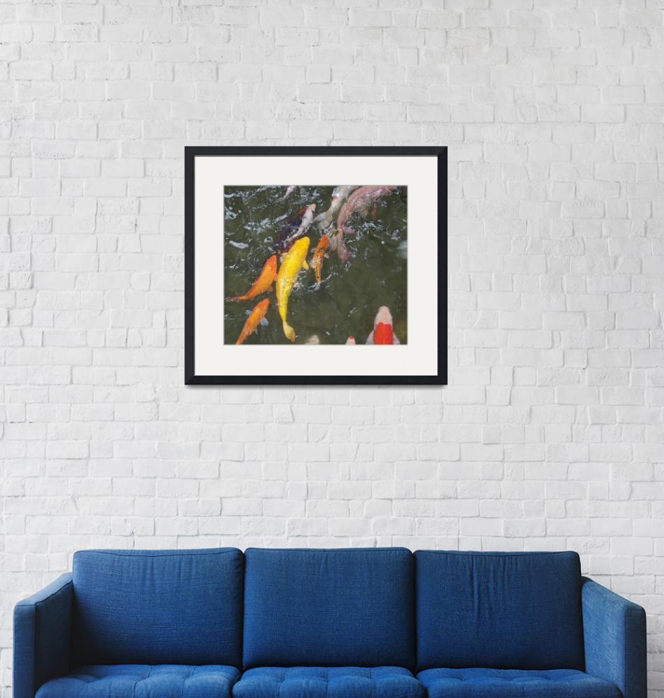 """""""Large yellow ornamental fish in a pond.""""  (2015) by easel"""