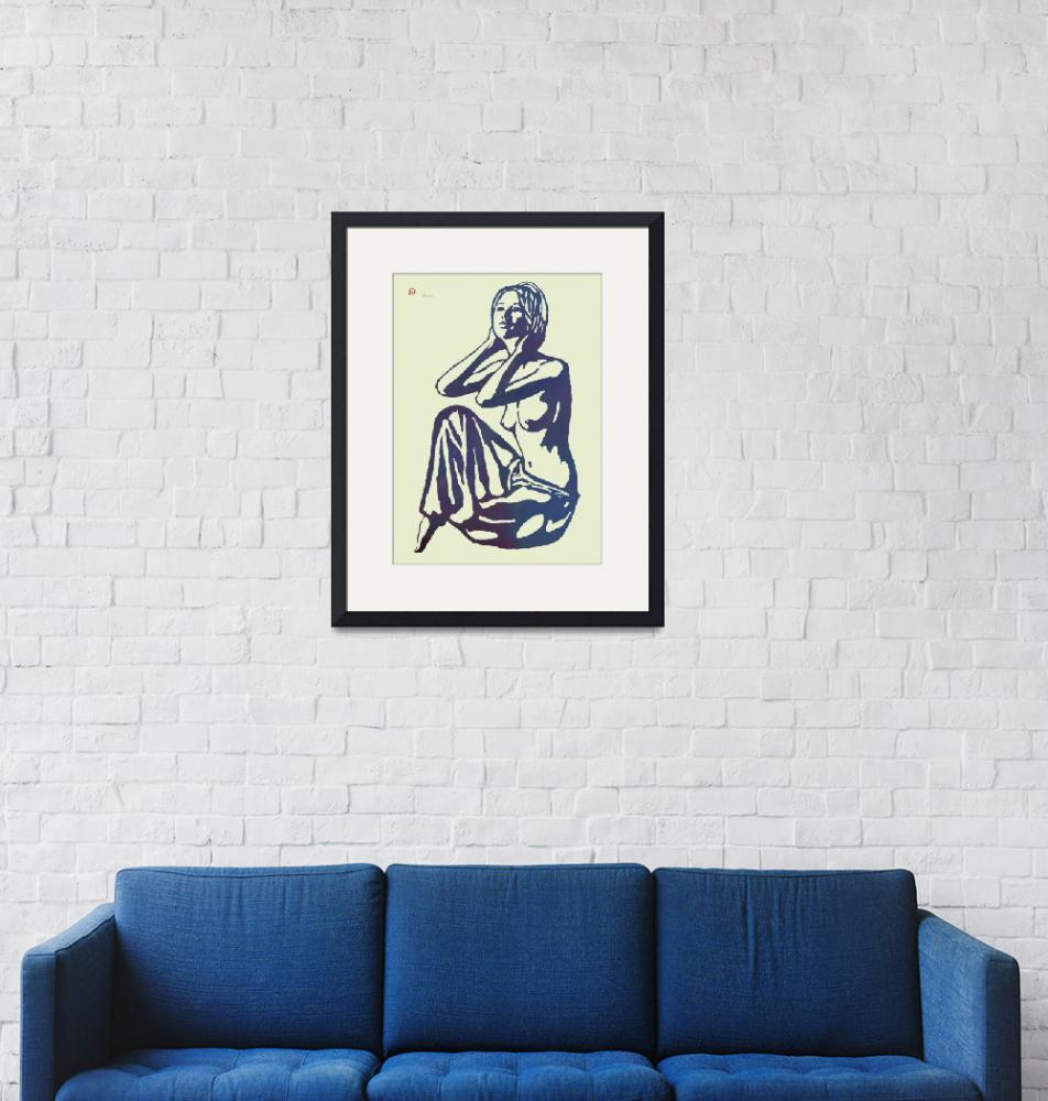 """""""Nude Pop Stylised Etching Art Poster""""  (2014) by visualharbour"""