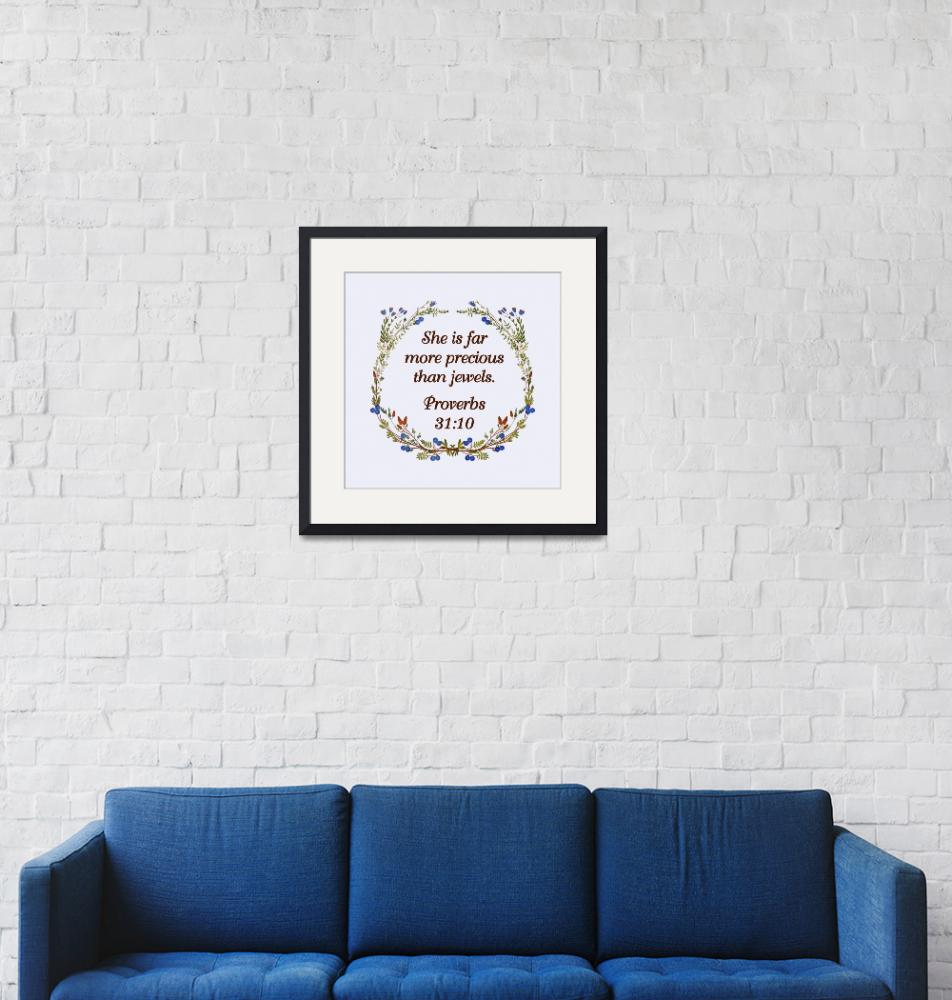 """BIBLE QUOTES ON BLUEBERRY WREATH-page-002""  by marymase"