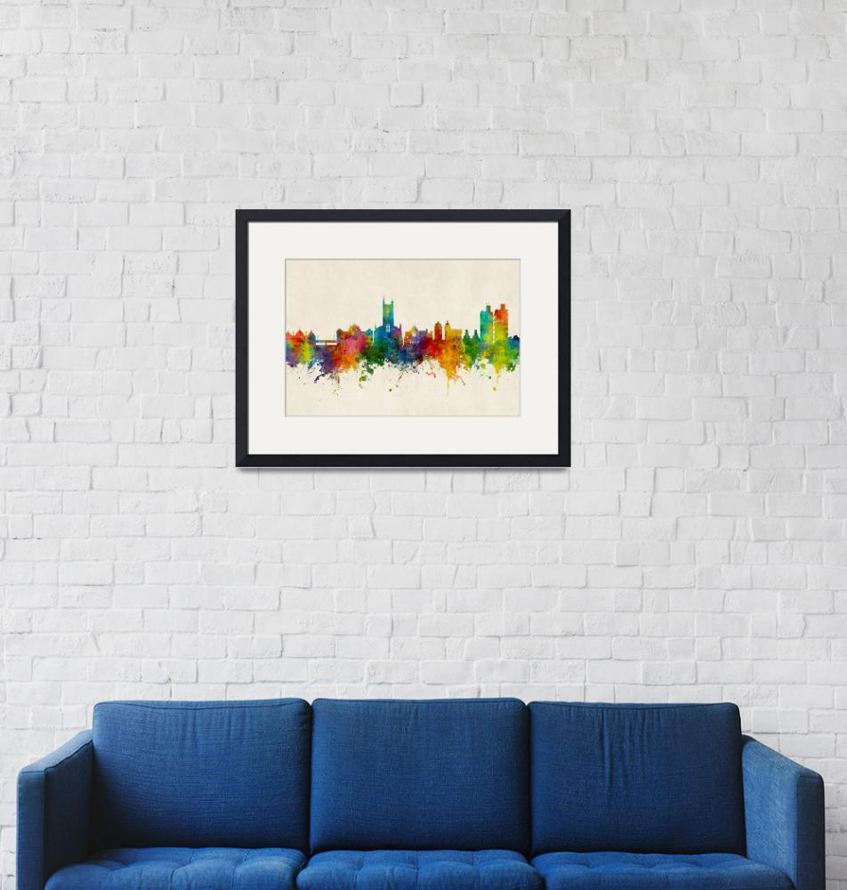 """Stoke-on-Trent England Skyline""  (2018) by ModernArtPrints"