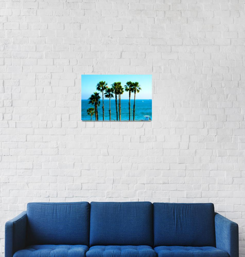 """Long Beach - California - Ocean - Palm Trees""  (2012) by wcsmack"