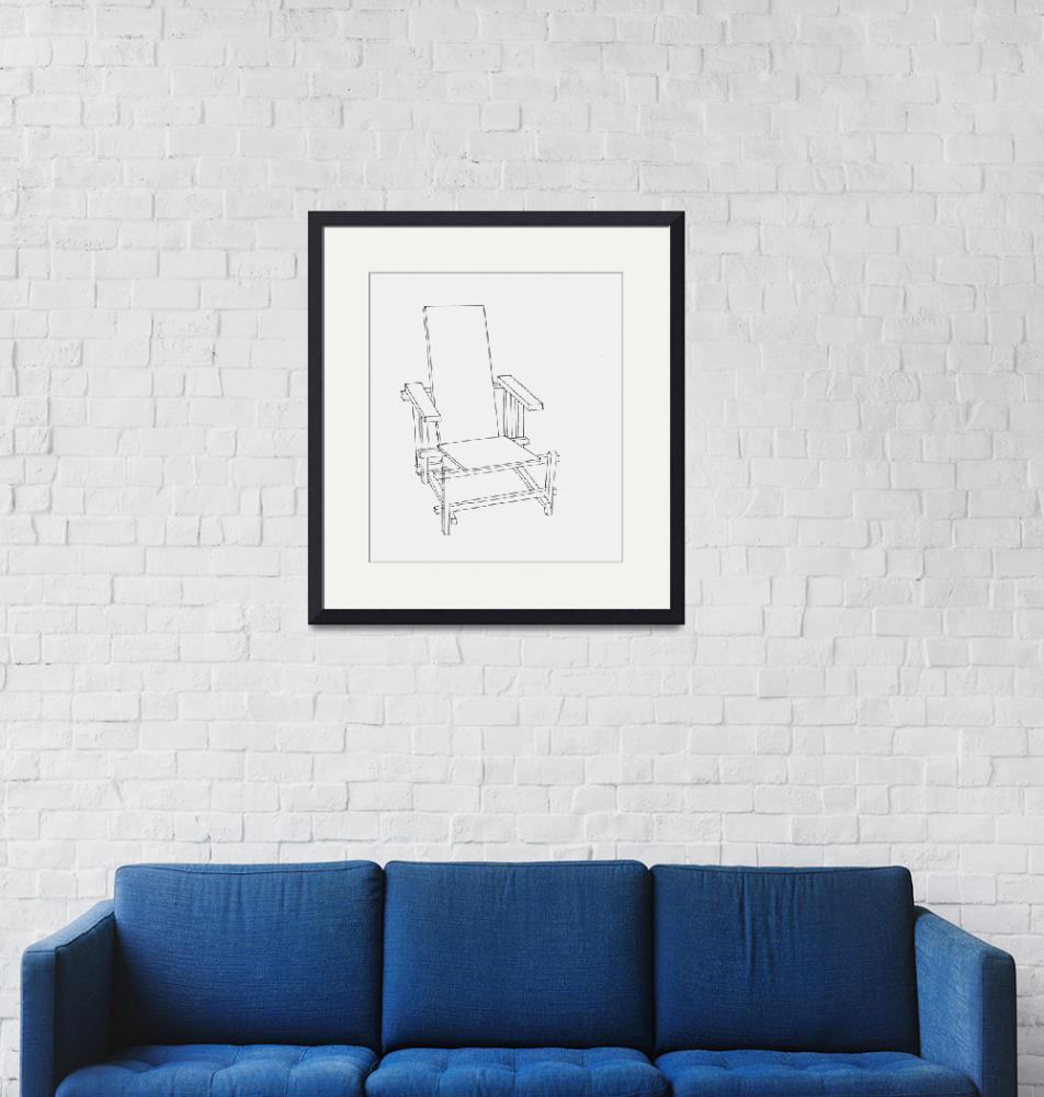 """""""Red and Blue Chair Line Drawing""""  (2009) by rachaeledmonds"""