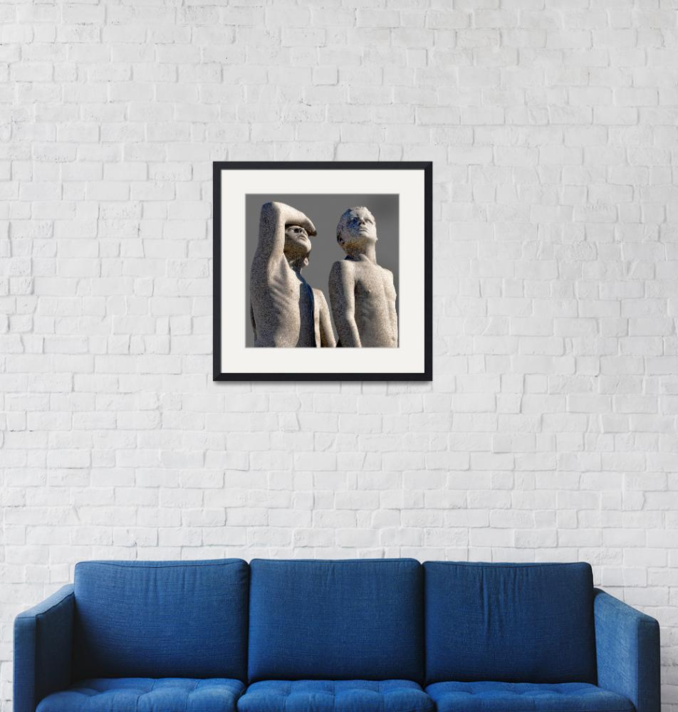 """""""Group of Male Vigeland Sculptures Looking Skyward""""  (2019) by WilshireImages"""