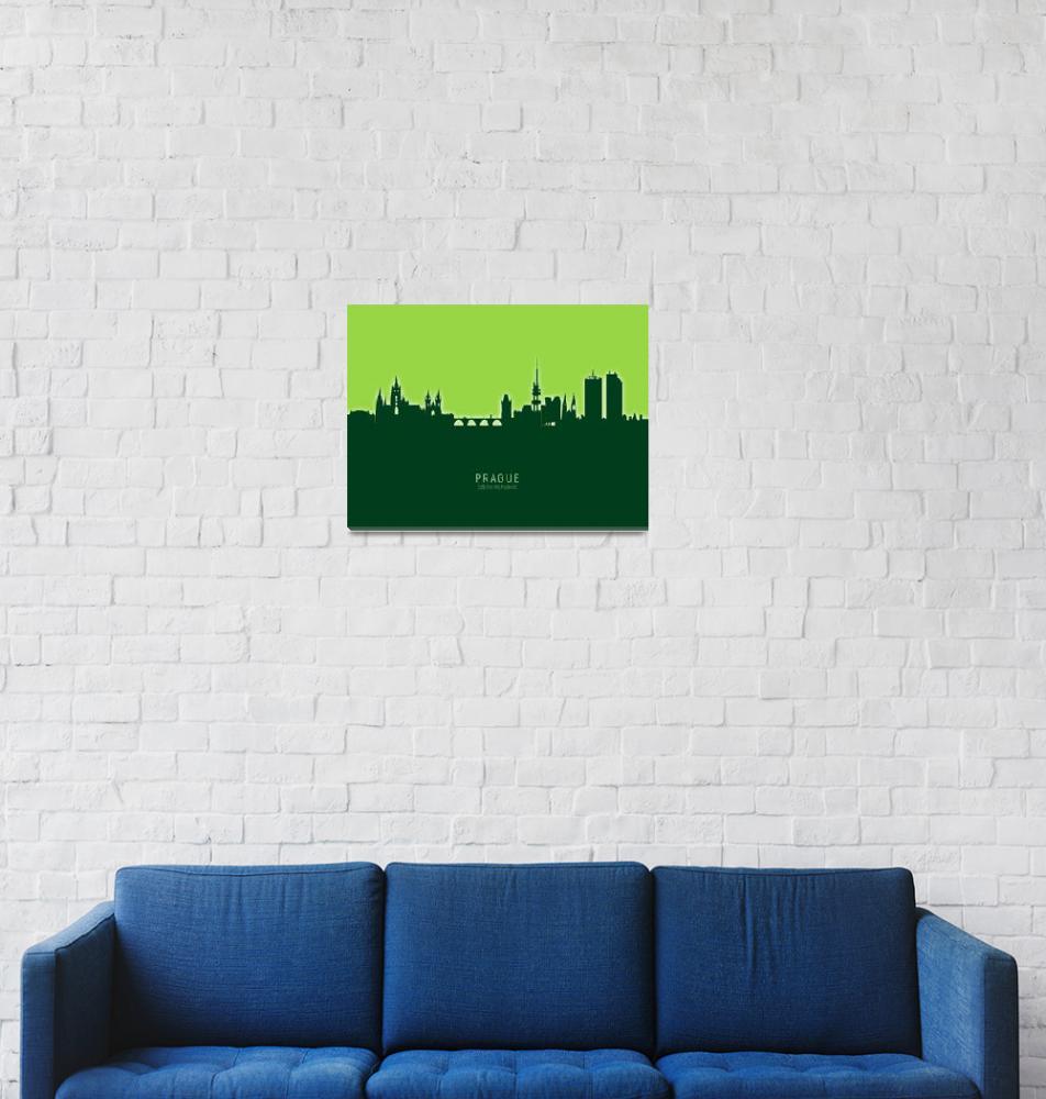 """""""Prague (Praha) Czech Republic Skyline""""  (2020) by ModernArtPrints"""