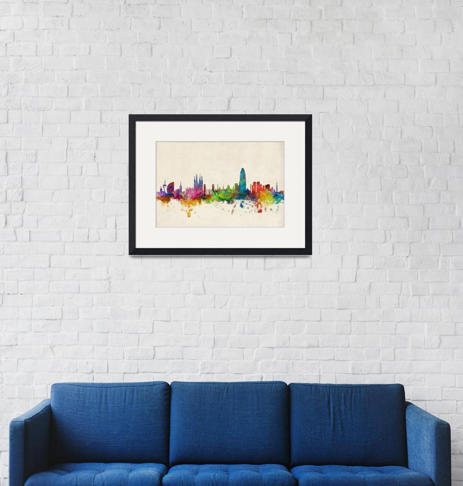 """Barcelona Spain Skyline""  (2014) by ModernArtPrints"