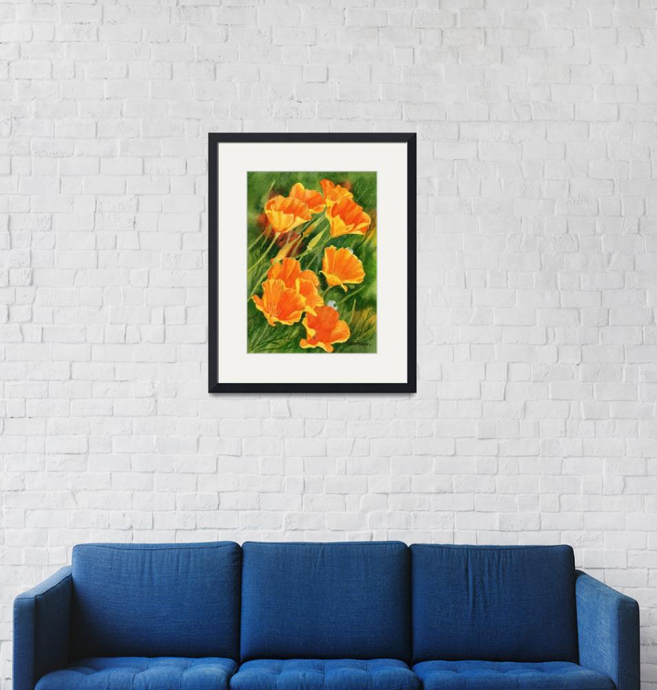 """""""California Poppies Faces Up""""  (2015) by Pacific-NW-Watercolors"""