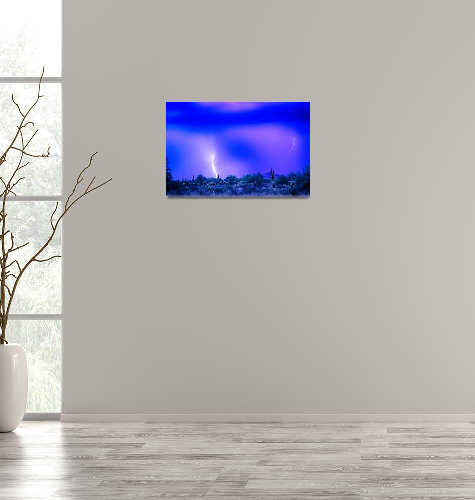 """Arizona Blue Hour Desert Storm""  (2016) by lightningman"