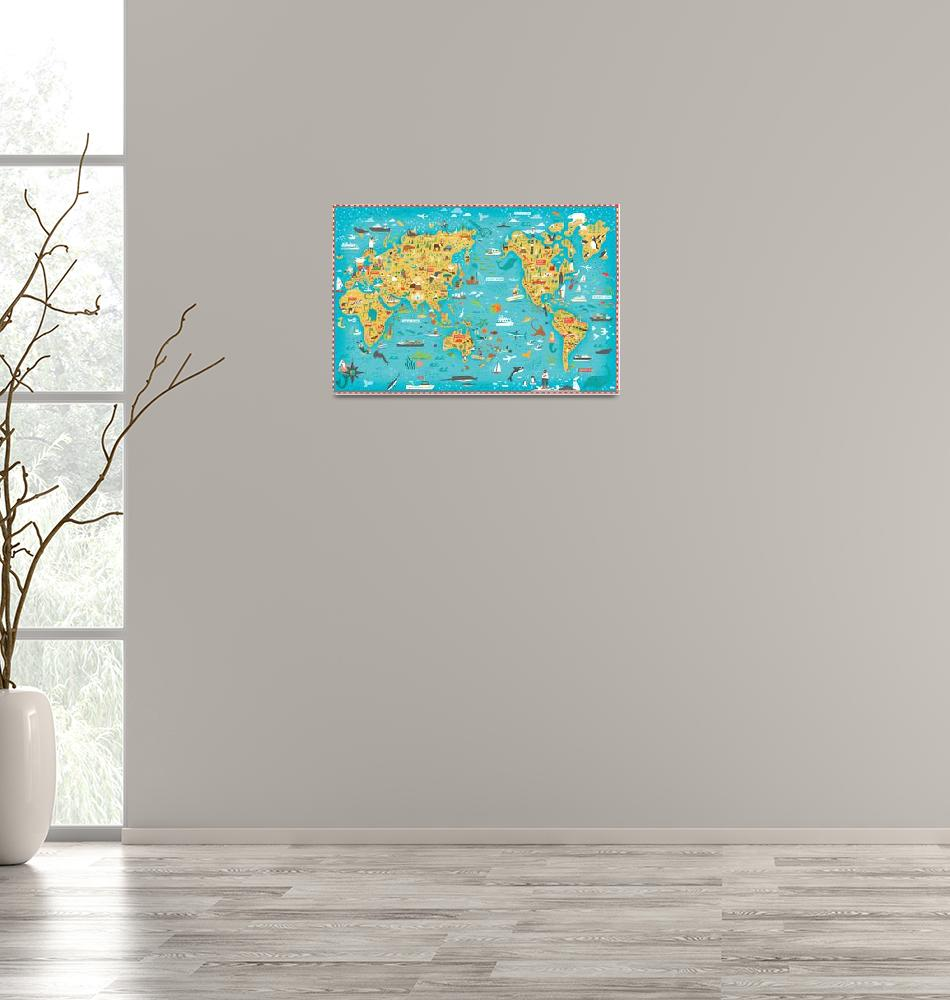 """""""Illustrated Map of the World by Nate Padavick""""  by TheyDrawandCook"""