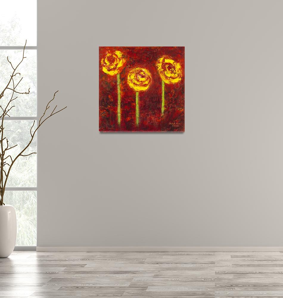 """""""Three Yellow Roses Oil on Canvas""""  by misook"""