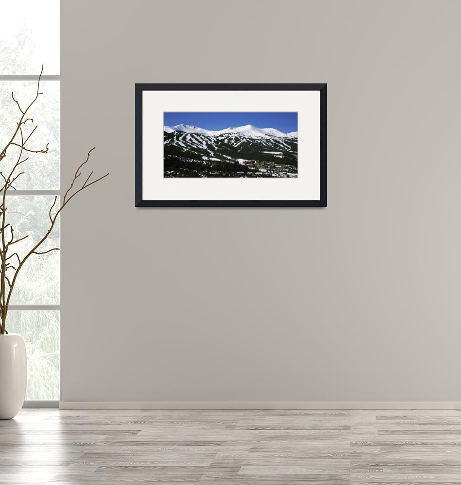 """Ski resorts in front of a mountain range""  by Panoramic_Images"