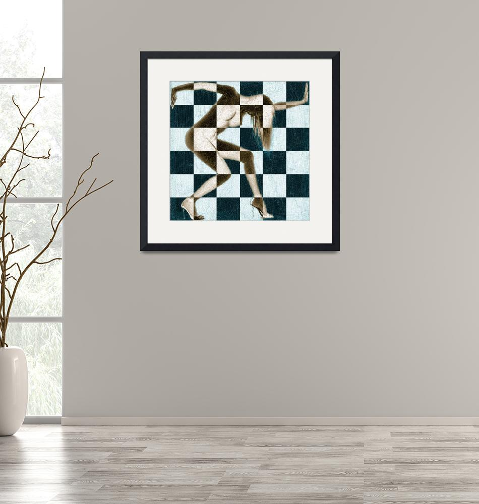 """""""Survive Nude Woman Checkered 2""""  (2018) by RubinoFineArt"""