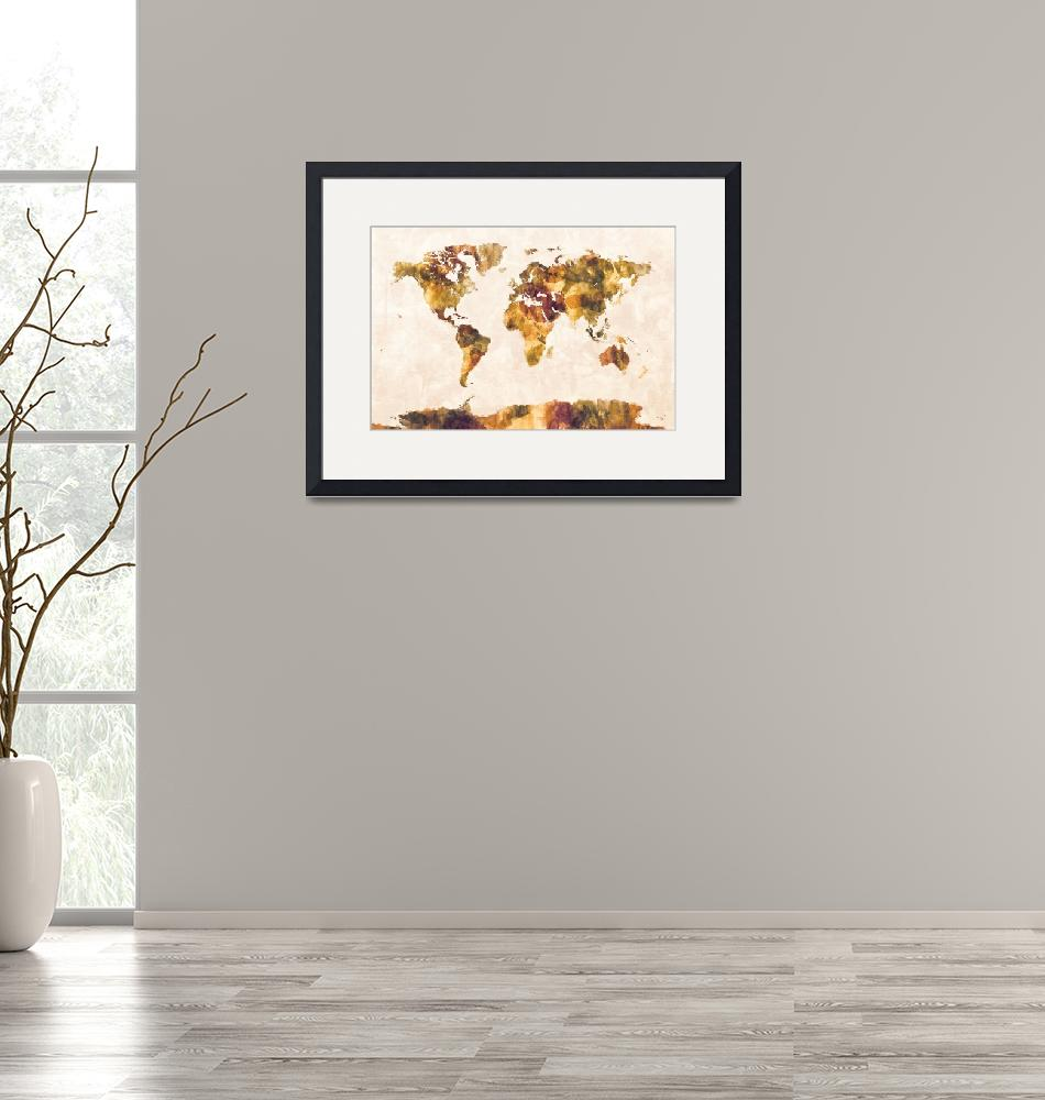 """Map of the World Map Watercolor Painting""  (2014) by ModernArtPrints"