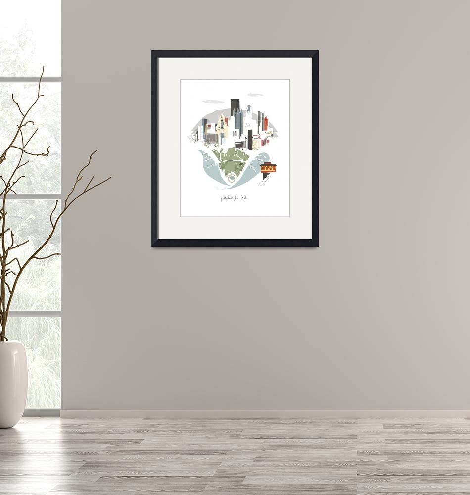 """""""Pittsburgh Modern Cityscape Illustration""""  by AlbieDesigns"""