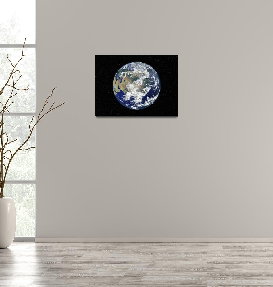 """Fully lit Earth centered on Asia""  by stocktrekimages"