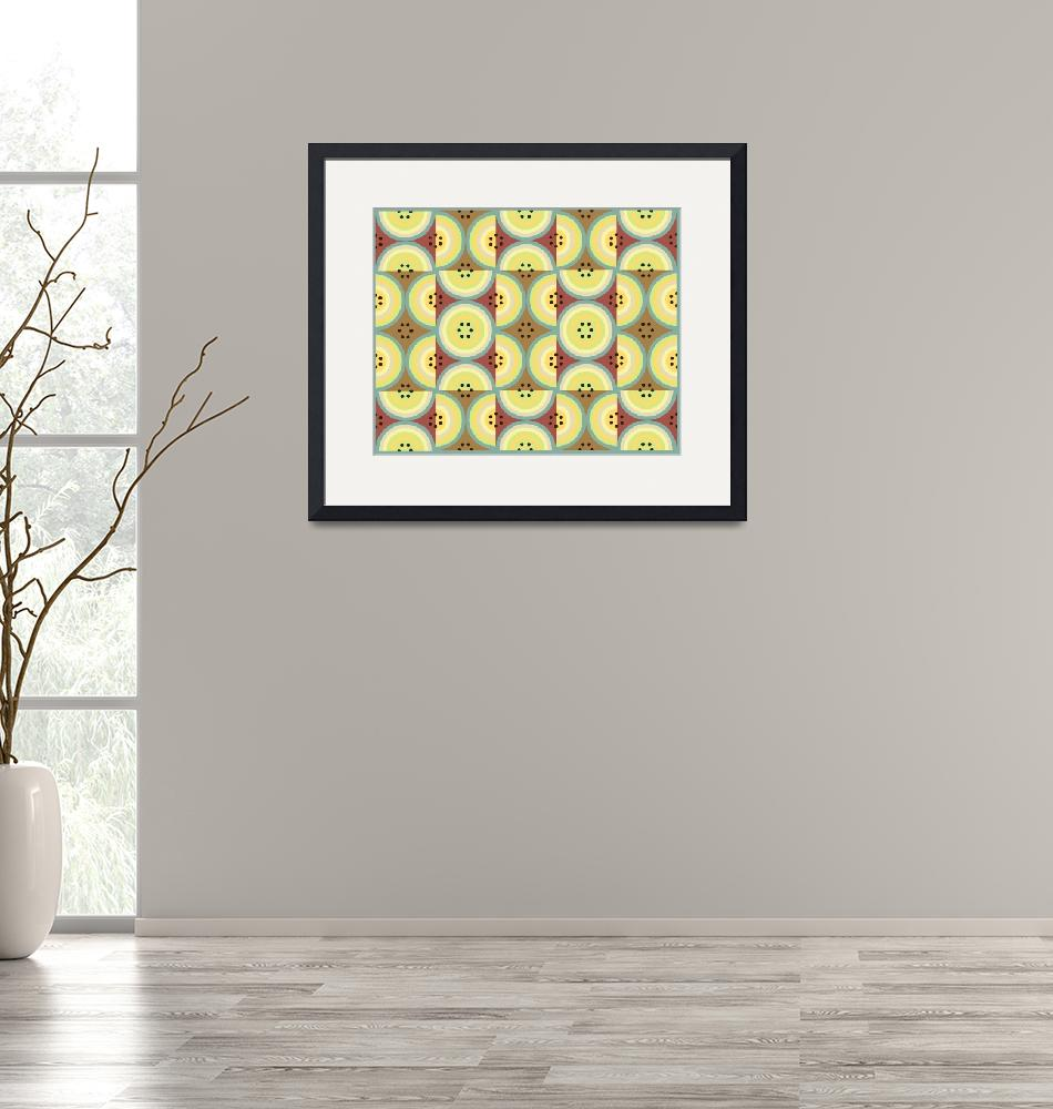 """""""Circles Olive Yellow AB yellow, green and browns""""  (2009) by LeslieTillmann"""