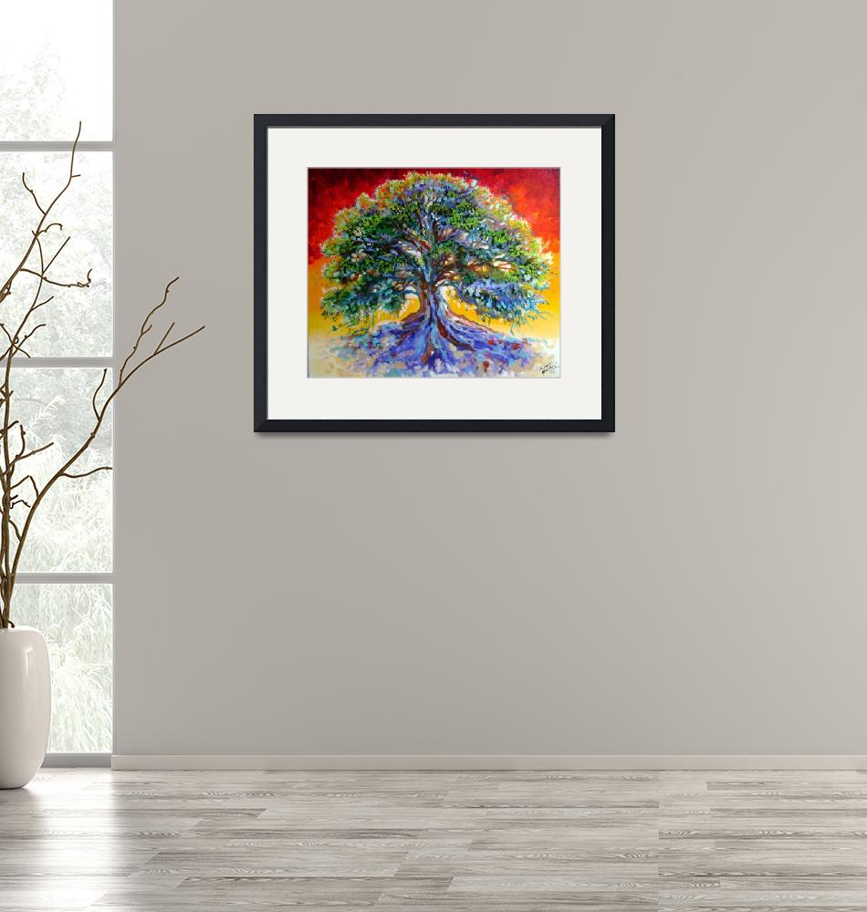 """""""Red Sky Tree""""  (2007) by MBaldwinFineArt2006"""
