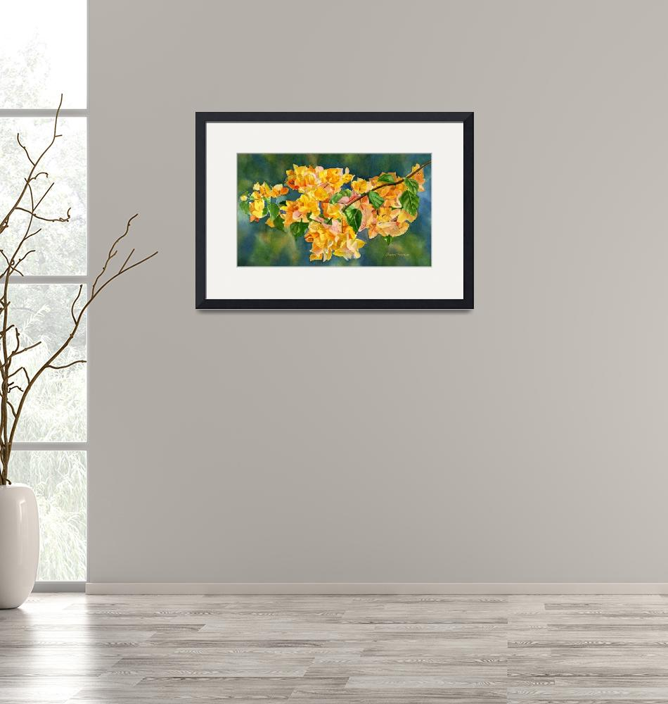 """""""Gold Colored Bougainvillea with Background""""  (2014) by Pacific-NW-Watercolors"""