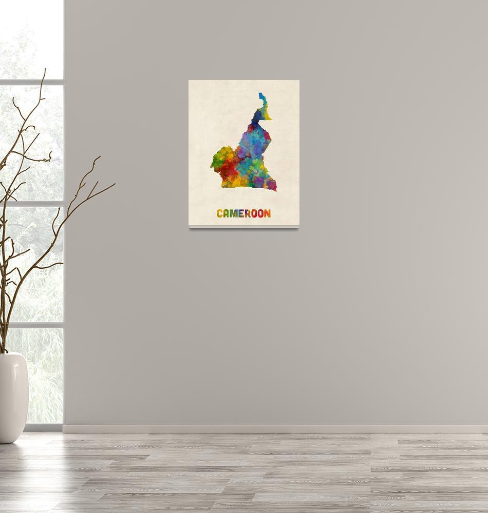 """Cameroon Watercolor Map""  (2017) by ModernArtPrints"