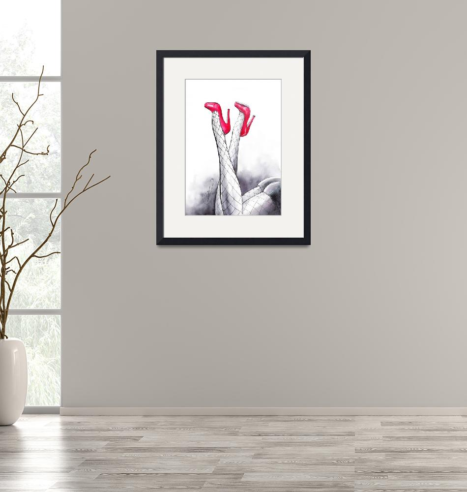 """Red hot shoes - fashion art""  (2015) by nevenaart"