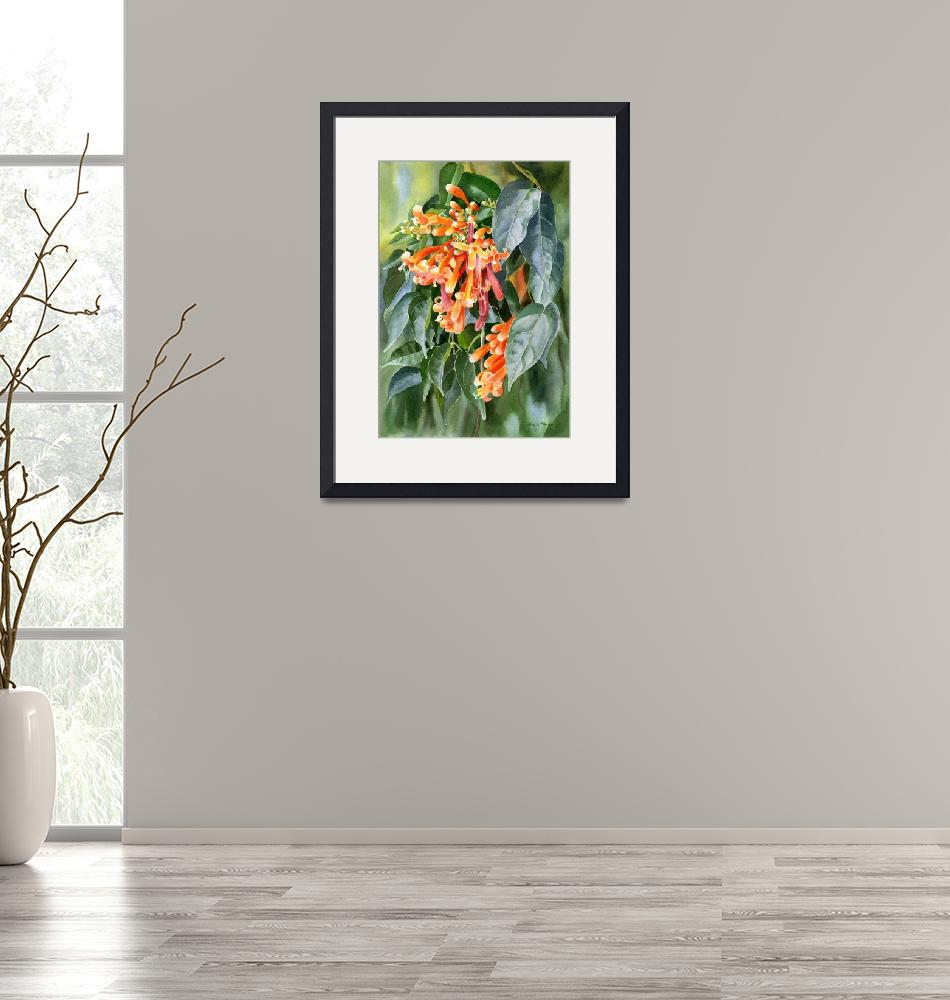 """Orange Trumpet Flame Vine with Background""  (2018) by Pacific-NW-Watercolors"