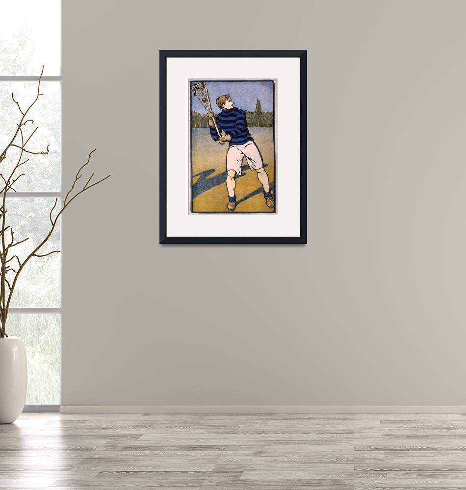 """""""Vintage Illustration of a Lacrosse Player (1905)""""  by Alleycatshirts"""
