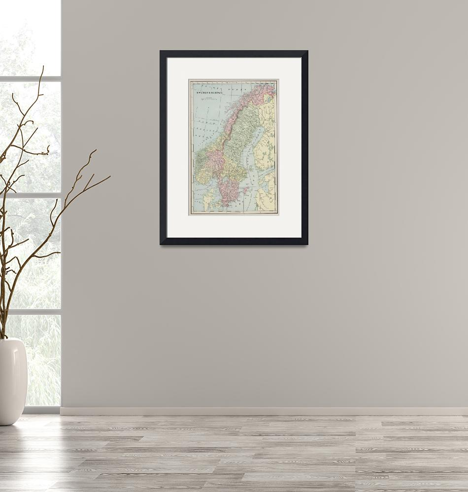 """Vintage Map of Norway and Sweden (1901)""  by Alleycatshirts"