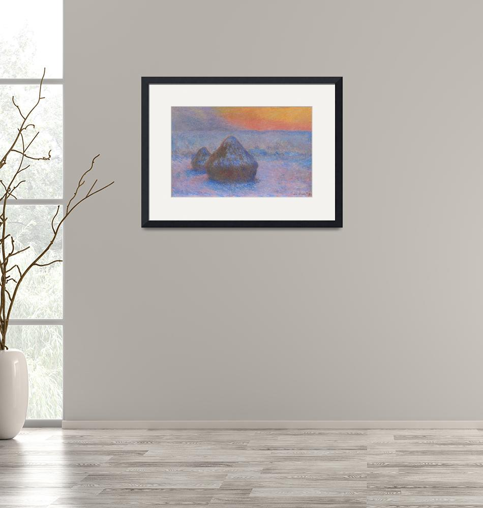 """""""Stacks of Wheat, Sunset with Snow Effect by Monet""""  by FineArtClassics"""