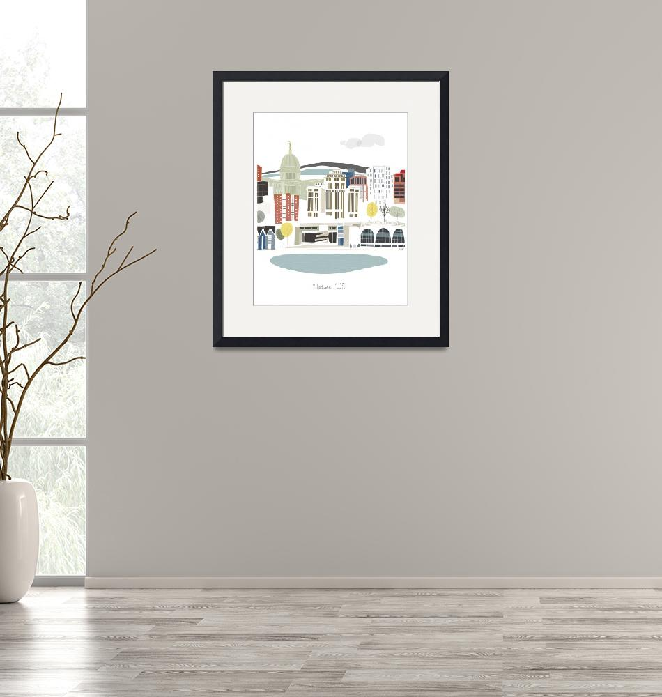 """""""Madison Modern Cityscape Illustration""""  by AlbieDesigns"""